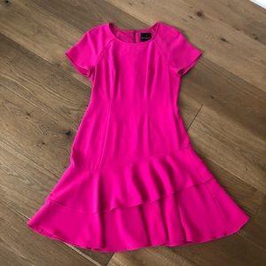 Shani Raglan-Sleeve Crepe Dress Double Flounce-Hem